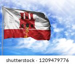 national flag of gibraltar on a ...   Shutterstock . vector #1209479776