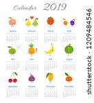 cute calendar 2019 year with...   Shutterstock .eps vector #1209484546
