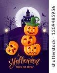 halloween background  pumpkins. ...   Shutterstock .eps vector #1209485956
