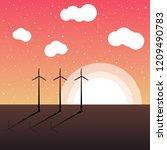 landscape silhouette view in...   Shutterstock .eps vector #1209490783