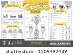vintage holiday christmas menu... | Shutterstock .eps vector #1209492439