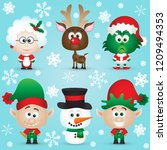 cute christmas characters santa ... | Shutterstock .eps vector #1209494353