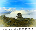 view from mountain range to the ... | Shutterstock . vector #1209502813