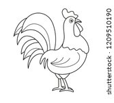 Coloring page outline of cartoon cock. Vector illustration, coloring book for kids - black and white picture