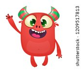 cute cartoon monster mascot... | Shutterstock .eps vector #1209517813