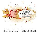 christmas card with holly in... | Shutterstock .eps vector #1209523390