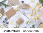 flat lay chrismas composition... | Shutterstock . vector #1209523909