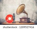 vintage antique gramophone... | Shutterstock . vector #1209527416