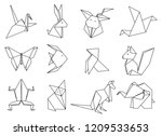 origami animals set. geometric... | Shutterstock .eps vector #1209533653