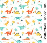 cute kids watercolor pattern... | Shutterstock . vector #1209540406