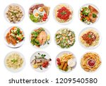 set of various plates of food... | Shutterstock . vector #1209540580