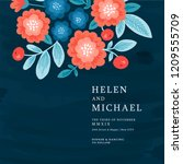 floral wedding invitation. folk ... | Shutterstock .eps vector #1209555709