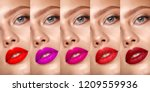 collection of eyes and lips red ... | Shutterstock . vector #1209559936