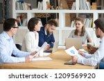 millennial businesswoman lead... | Shutterstock . vector #1209569920