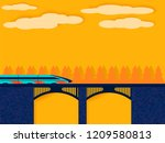 train on railway bridge on the... | Shutterstock .eps vector #1209580813