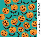 halloween creepy pumpkin design ... | Shutterstock .eps vector #1209583846