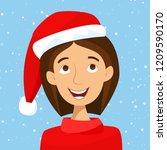 girl in santa hat with snow....   Shutterstock .eps vector #1209590170