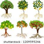 set of different cartoon fruit... | Shutterstock .eps vector #1209595246