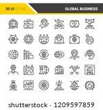 vector set of global business... | Shutterstock .eps vector #1209597859