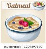 oatmeal. cartoon icon. series... | Shutterstock . vector #1209597970