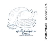 grilled chicken and meat icon.... | Shutterstock .eps vector #1209598276
