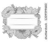 floral black and white vintage... | Shutterstock .eps vector #1209599683