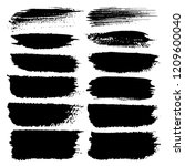 set of brush stroke  black ink... | Shutterstock .eps vector #1209600040