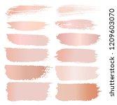 set of brush stroke  pink gold... | Shutterstock .eps vector #1209603070
