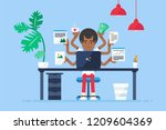 workspace of professional... | Shutterstock .eps vector #1209604369