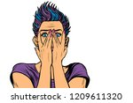 surprised woman covered her... | Shutterstock .eps vector #1209611320