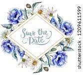 watercolor blue bouquet of... | Shutterstock . vector #1209611599