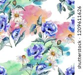 watercolor blue bouquet of...   Shutterstock . vector #1209611626