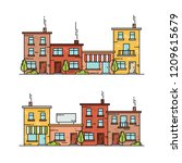 colorful buildings. flat line... | Shutterstock .eps vector #1209615679
