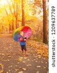 child in autumn park. happy...   Shutterstock . vector #1209637789