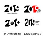 2019 happy new year. set of... | Shutterstock .eps vector #1209638413
