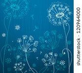 deep blue and white dandelion... | Shutterstock .eps vector #120964000