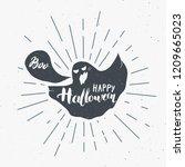 halloween greeting card vintage ... | Shutterstock .eps vector #1209665023