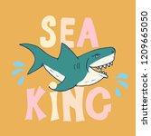 cute shark hand drawn sketch  t ... | Shutterstock .eps vector #1209665050