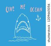 cute shark hand drawn sketch  t ... | Shutterstock .eps vector #1209665056