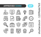 approve line icons. outline... | Shutterstock .eps vector #1209666763