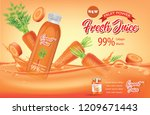 juice ads. bottle with carrot... | Shutterstock .eps vector #1209671443