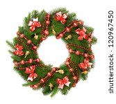 christmas wreath on white... | Shutterstock . vector #120967450