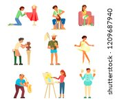 group of people enjoying their... | Shutterstock .eps vector #1209687940