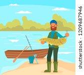 bearded man holding big fish.... | Shutterstock .eps vector #1209687946