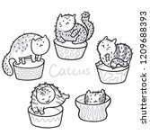 cute kawaii cat cactus in the... | Shutterstock .eps vector #1209688393