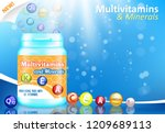 vitamin and mineral complex... | Shutterstock .eps vector #1209689113