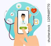 online medical consultation... | Shutterstock .eps vector #1209689770