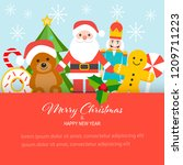 flat design merry christmas and ... | Shutterstock .eps vector #1209711223