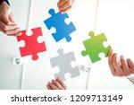 teamwork meeting business... | Shutterstock . vector #1209713149