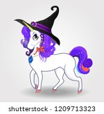 halloween illustration of cute... | Shutterstock . vector #1209713323